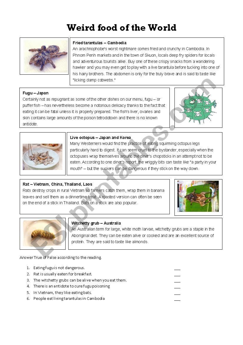 Weird food of the world - ESL worksheet by naveggdga