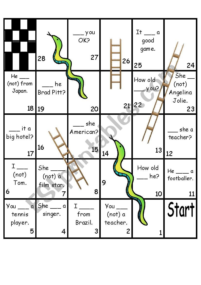 Verb To Be - Snakes and Ladders Game
