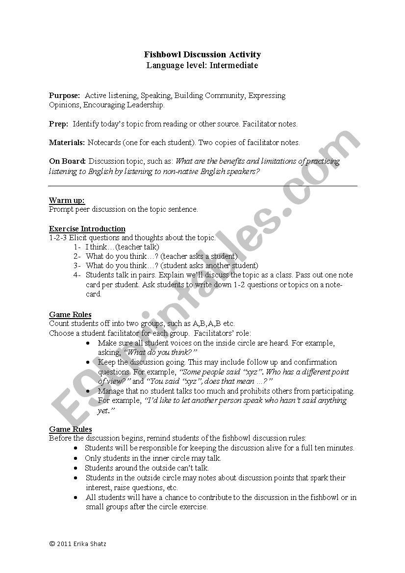 Fishbowl Discussion Activity Esl Worksheet By Erikashatz