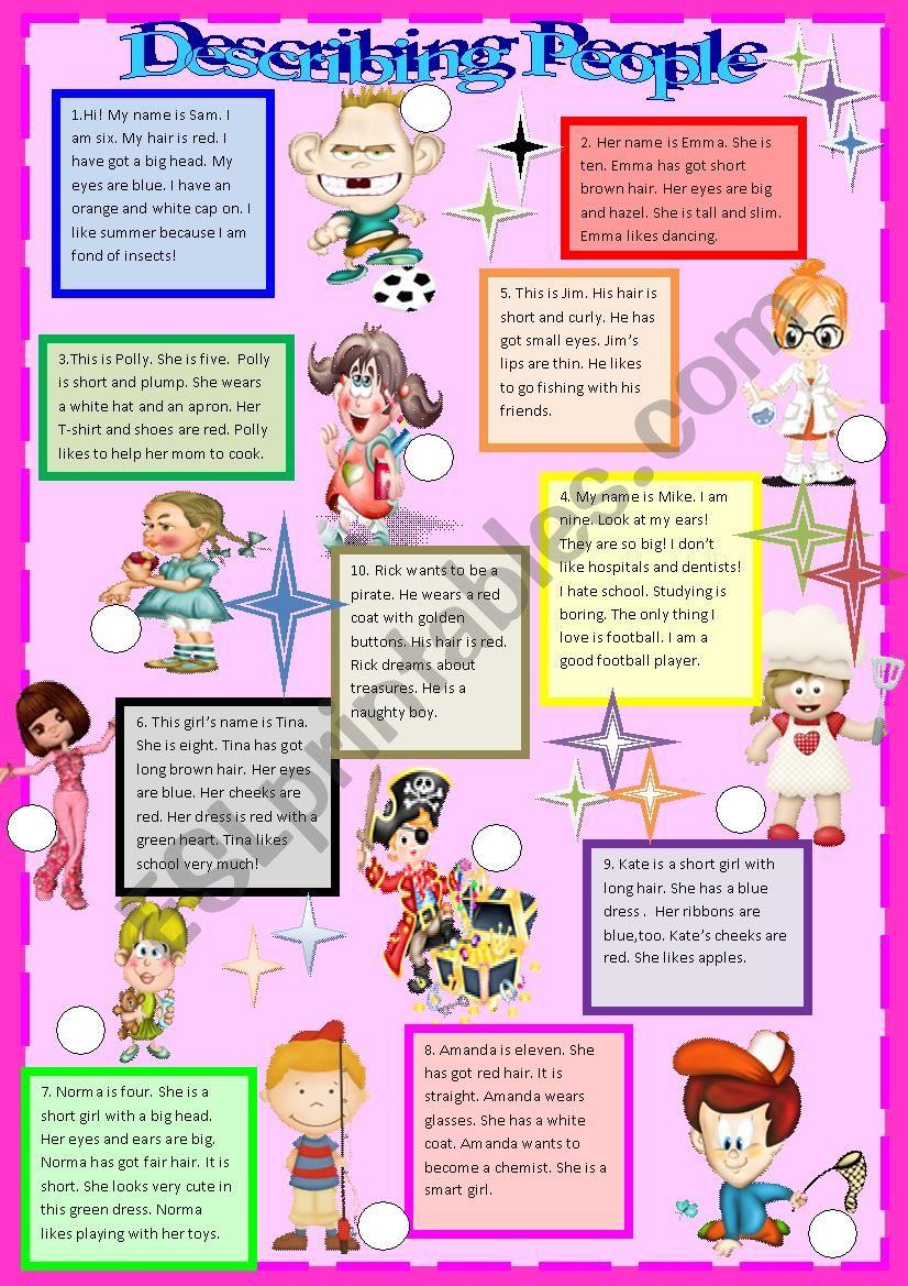 Describing people # 3 worksheet