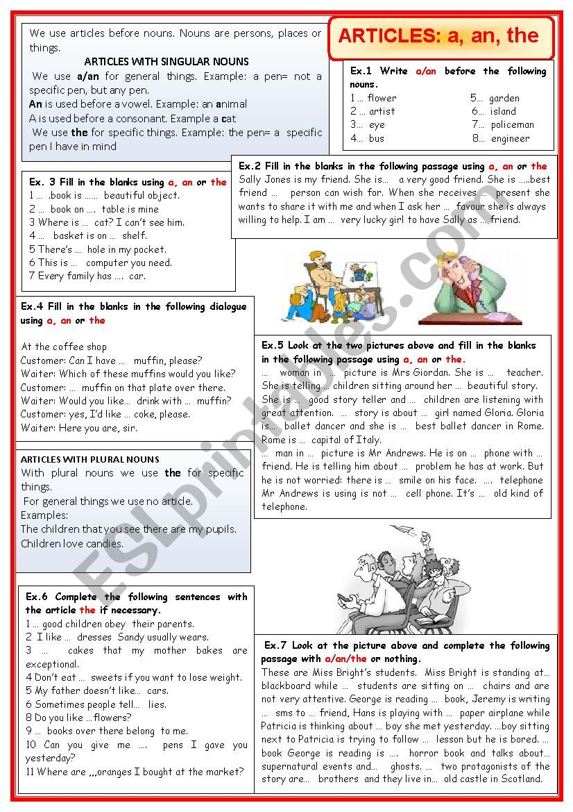 Articles: a, an, the worksheet