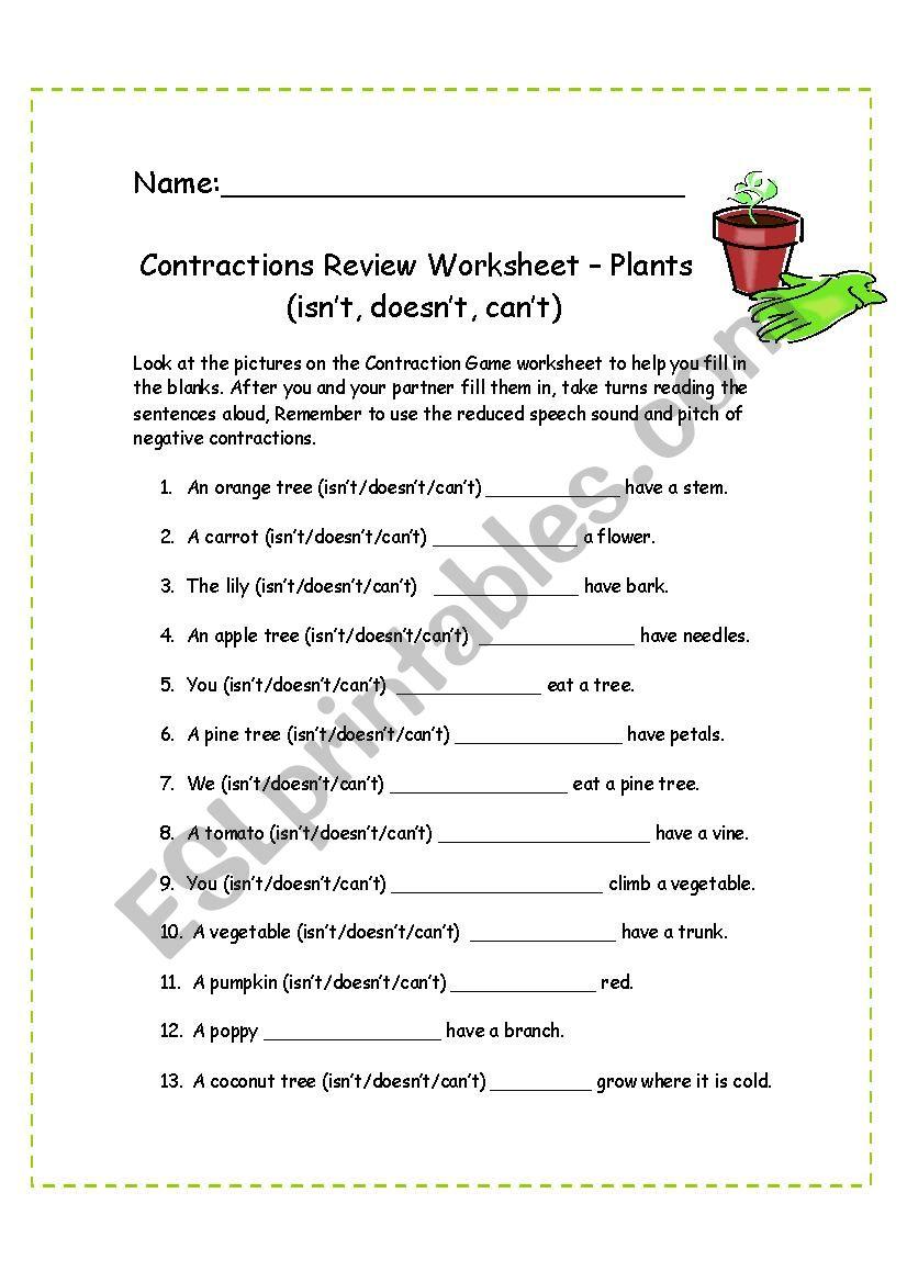 Contractions Worksheet - Plants