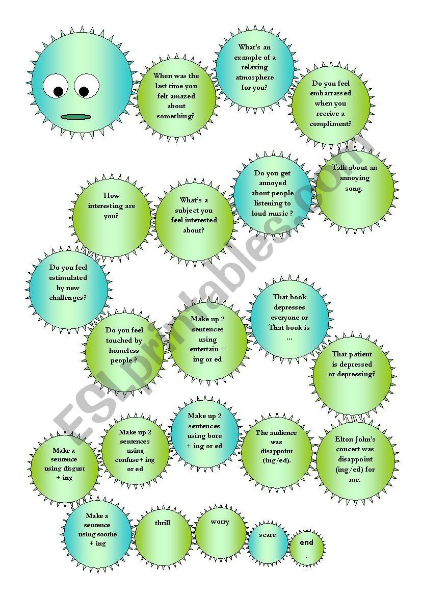 Board Game ing and ed endings - ESL worksheet by Cristiane