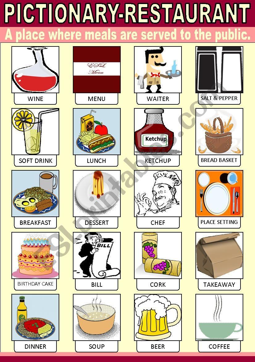 Restaurant Pictionary worksheet
