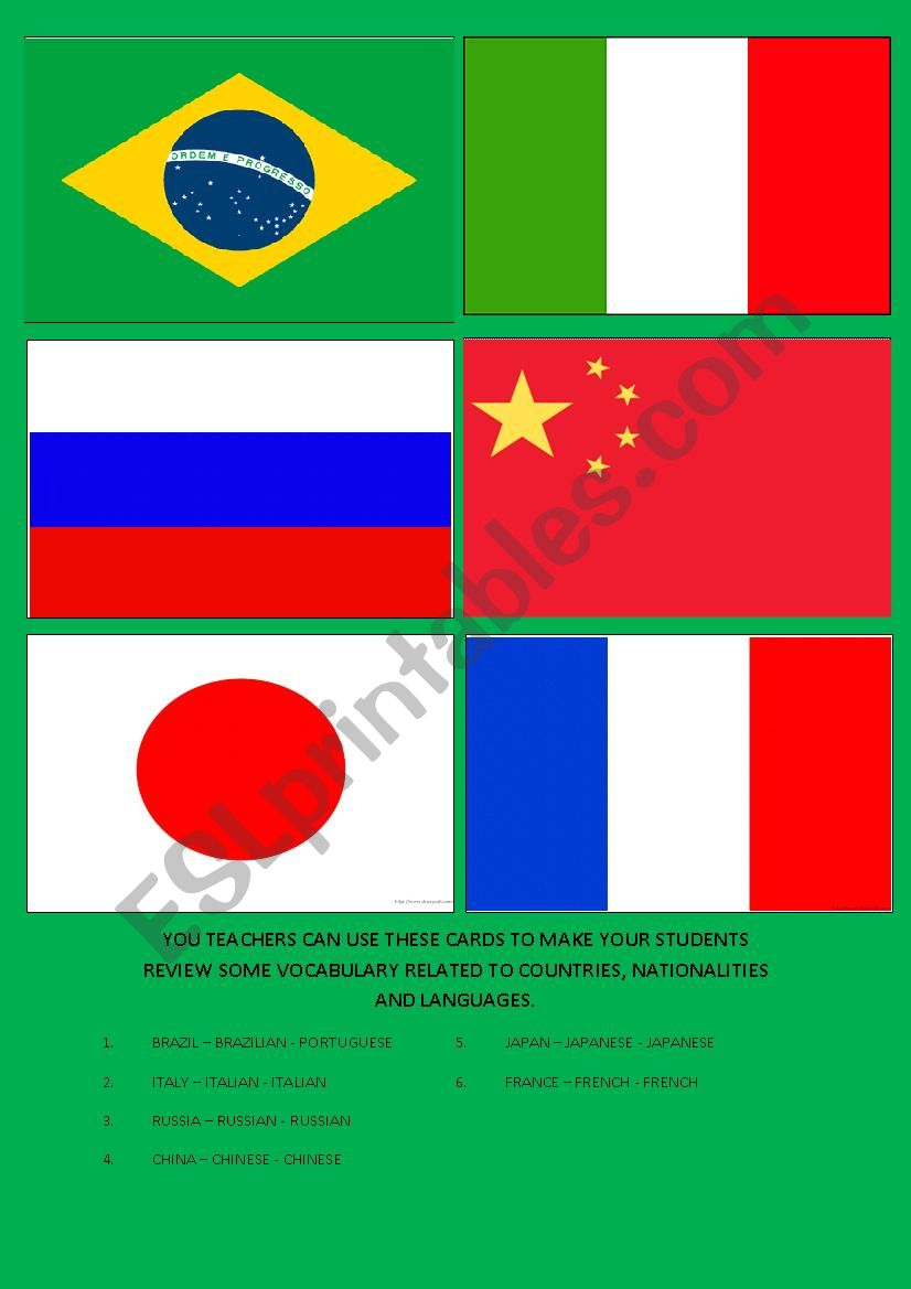 NATIONALITIES, LANGUAGES, AND COUNTRIES