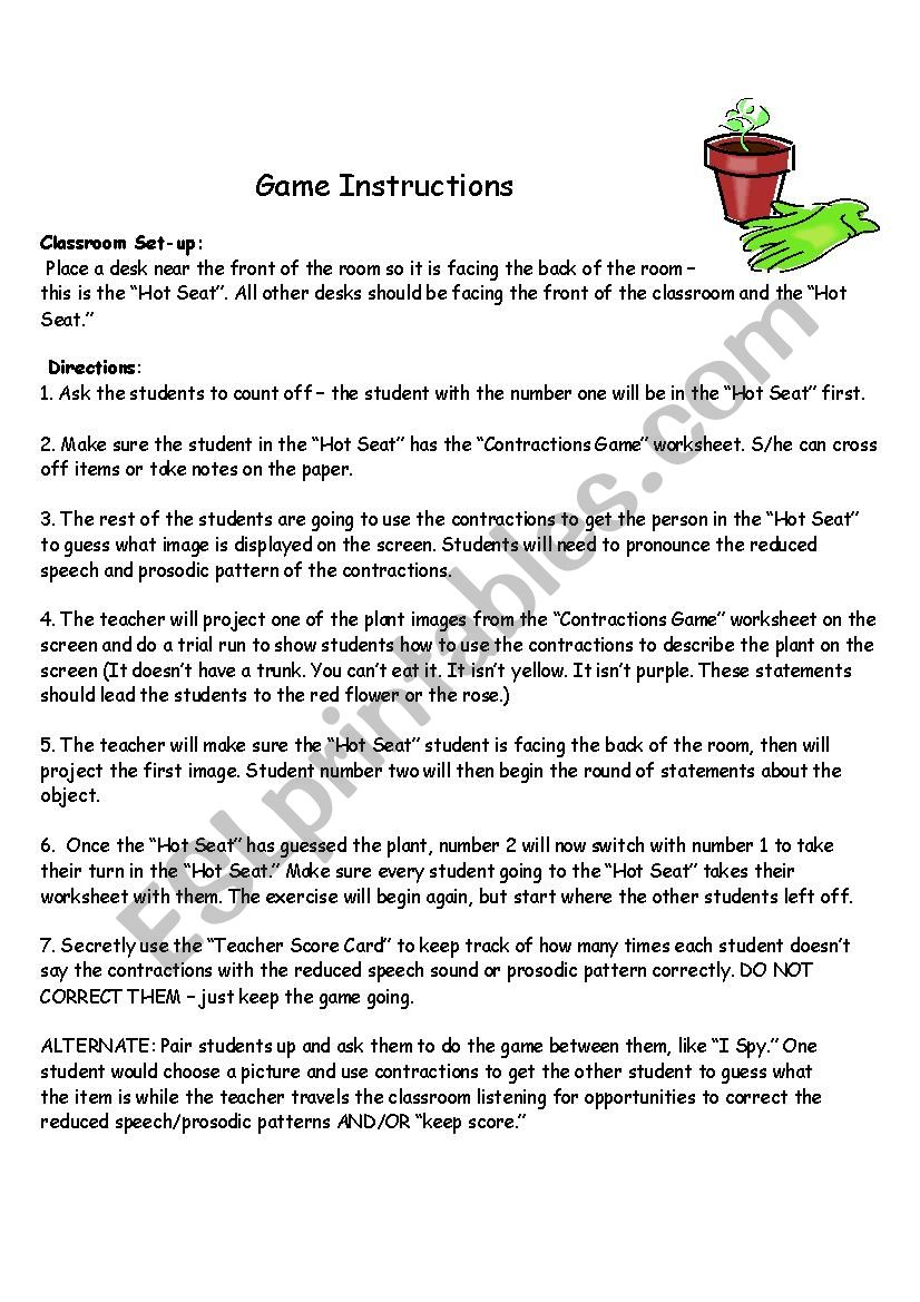 Contractions Game Instructions and Teacher Score Card
