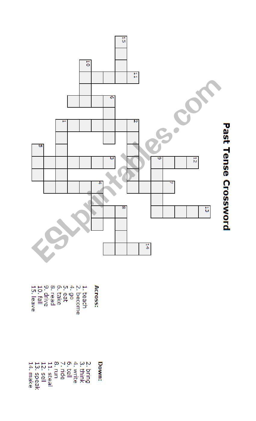 Past tense crossword worksheet