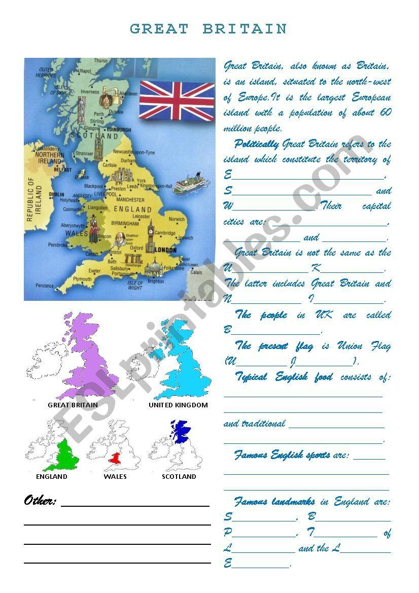 Great Britain worksheet