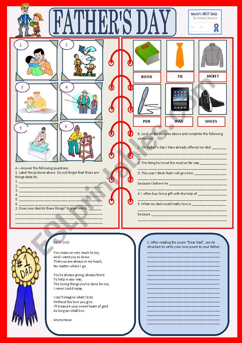 Father´s Day worksheet
