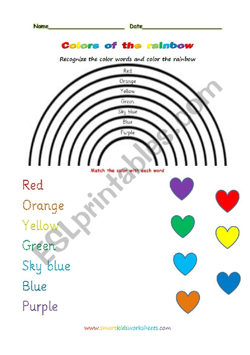 Colors of the rainbow worksheet