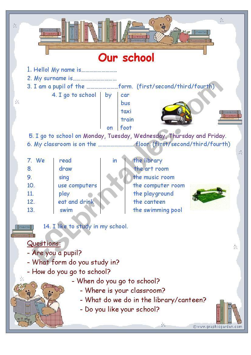 - Our School - ESL Worksheet By Natalyshka