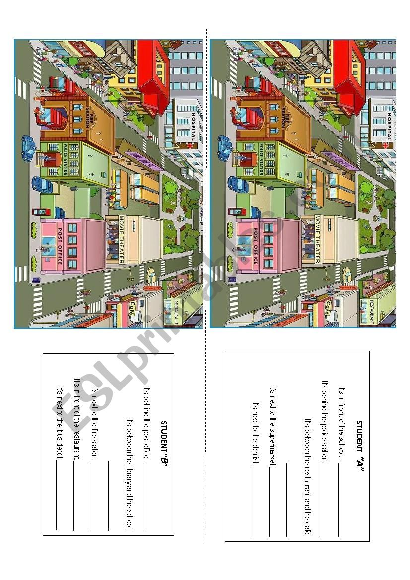 Places of the city worksheet