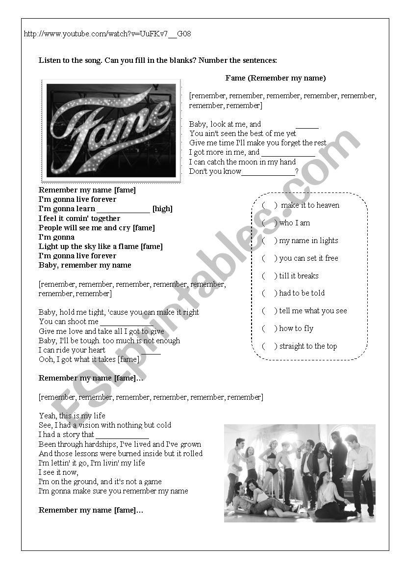 Fame - remember my name worksheet