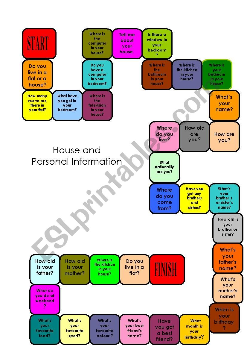 Board game, Personal Information and house. Useful for Trinity exam, grades 2 and 3