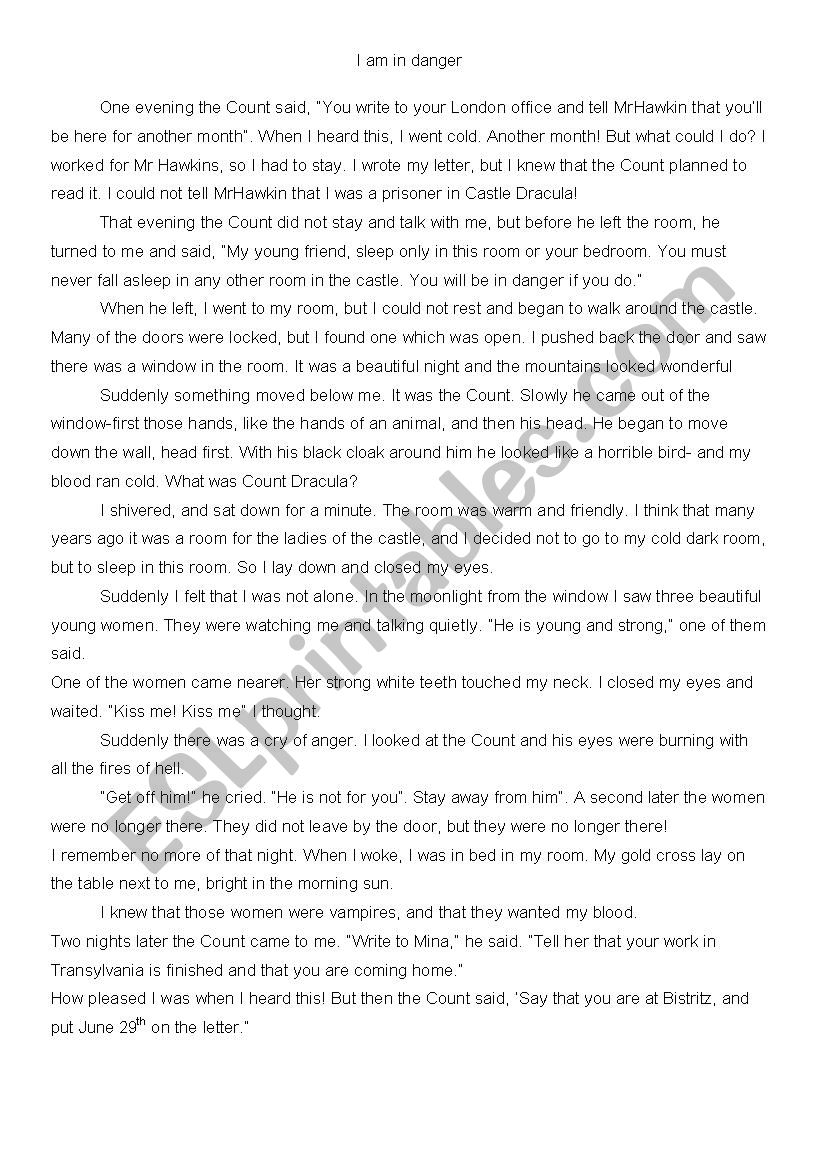 Written comprehension Dracula by Bram Stoker