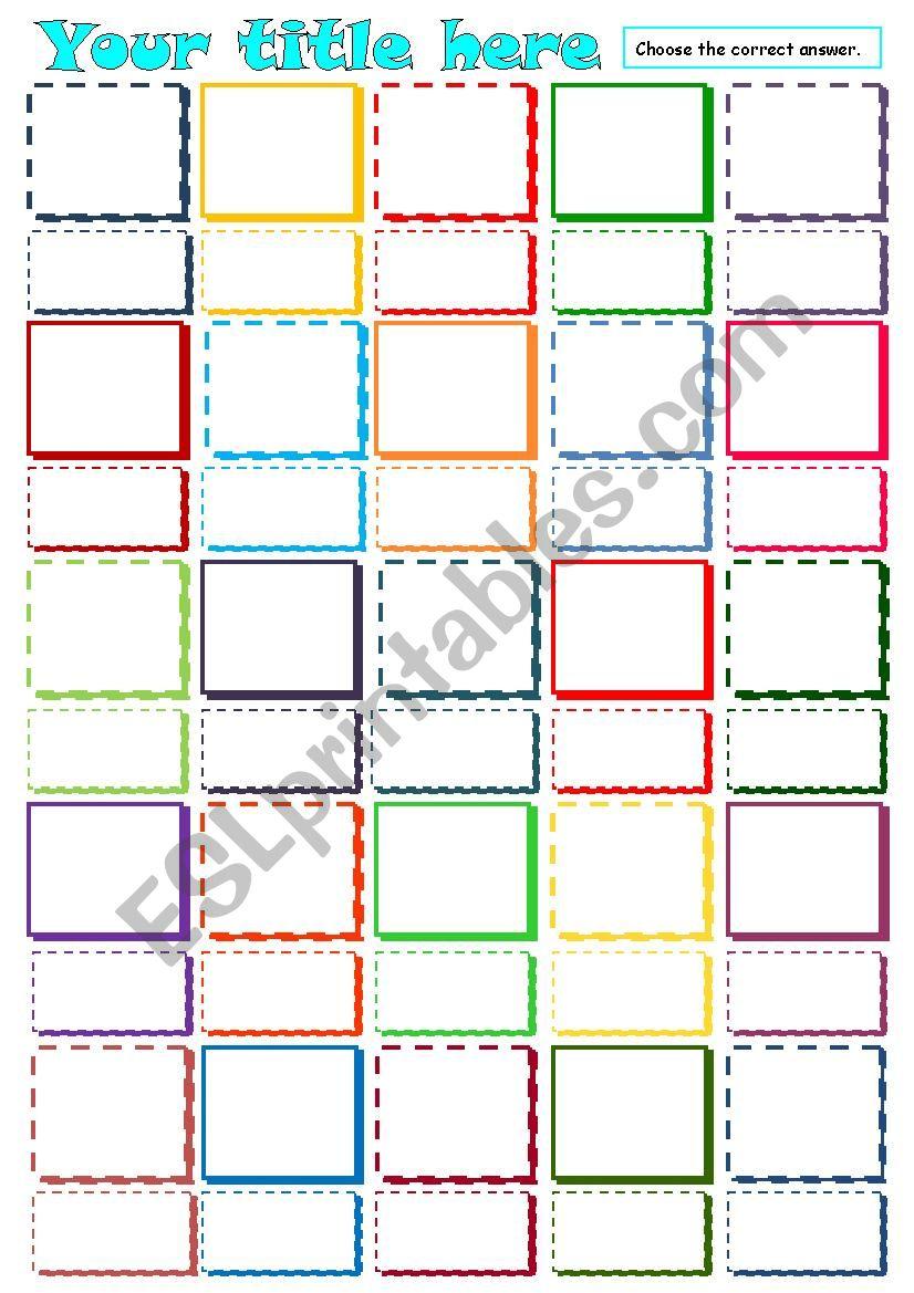 Multiple choice - Template worksheet