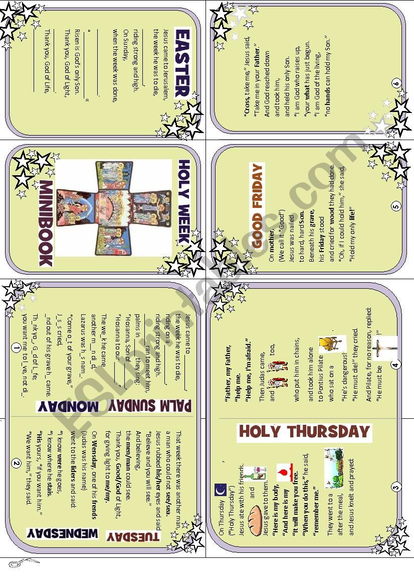 Holy Week Minibook - ESL worksheet by NatySB