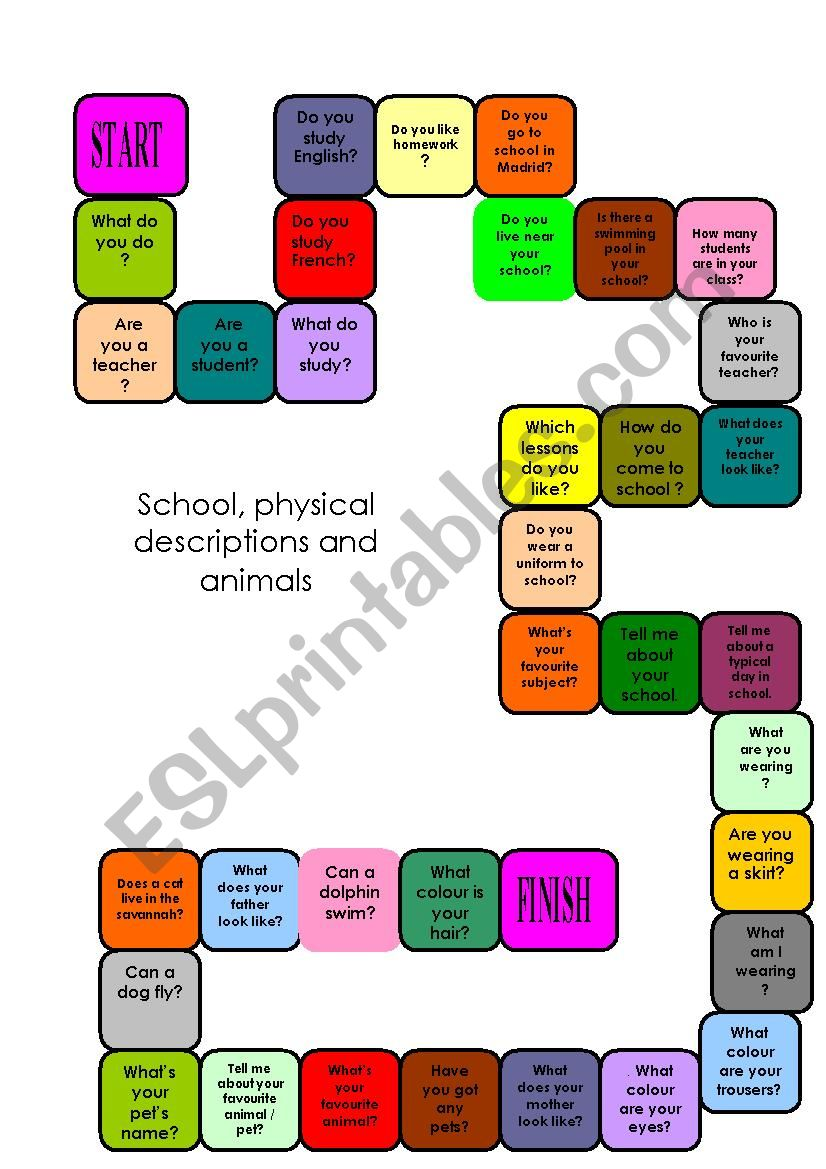 Board game, school, physical description and animals. Useful for Trinity exam, grades 2 and 3