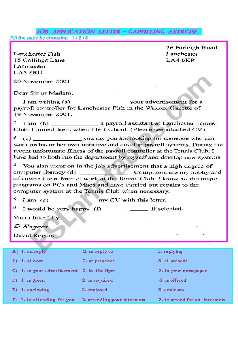 job application letter - gapfilling exercise