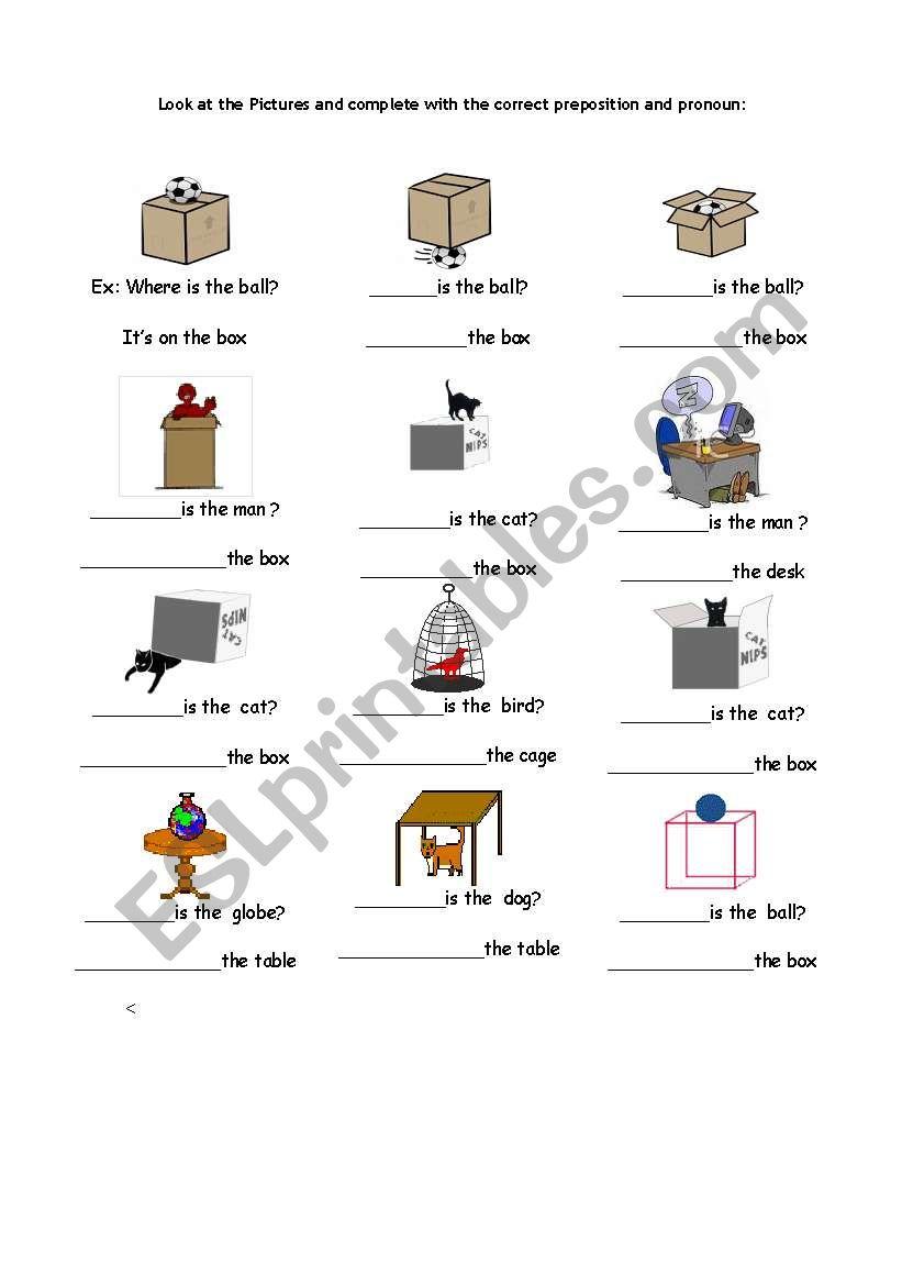 prepositions :In, on under worksheet