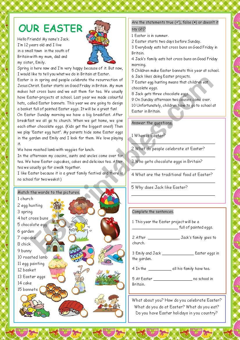 Our Easter worksheet