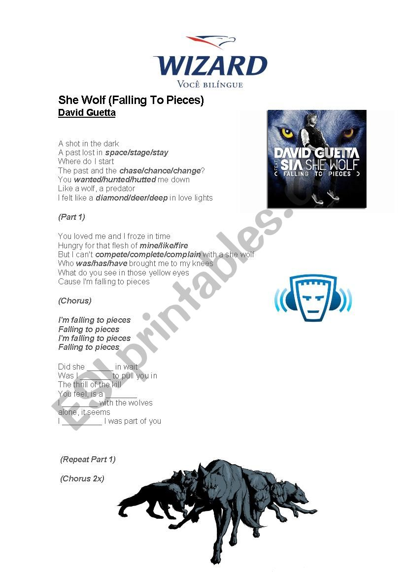 She Wolf - David Guetta worksheet