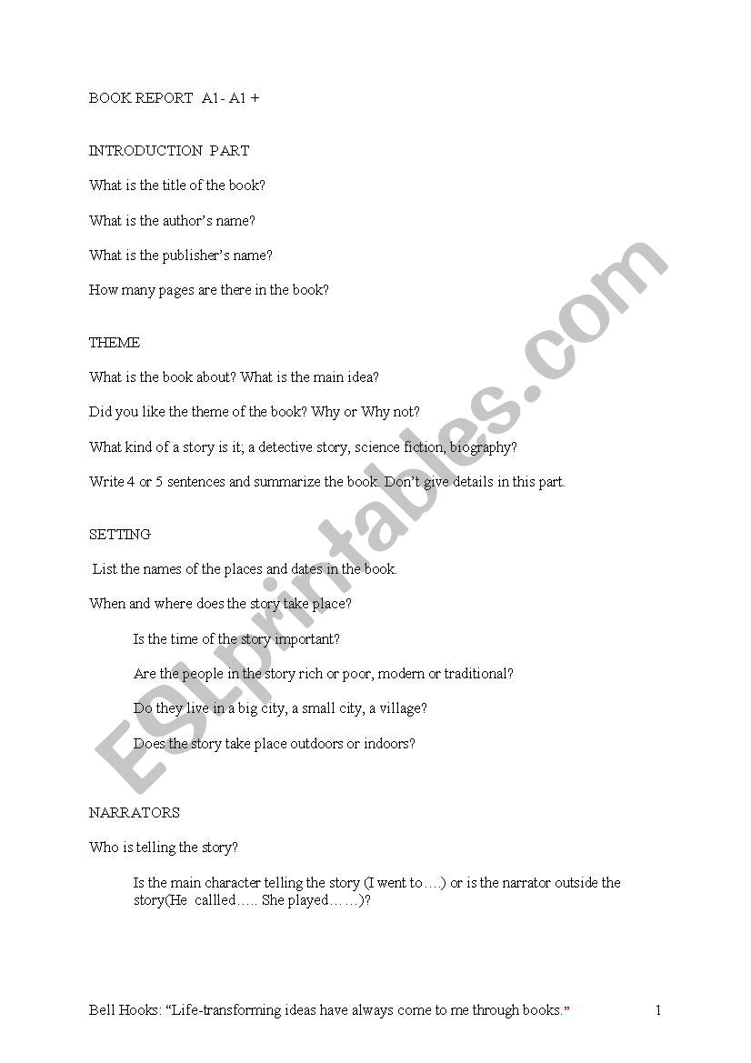 Guiding Questions for writing a book report - ESL worksheet