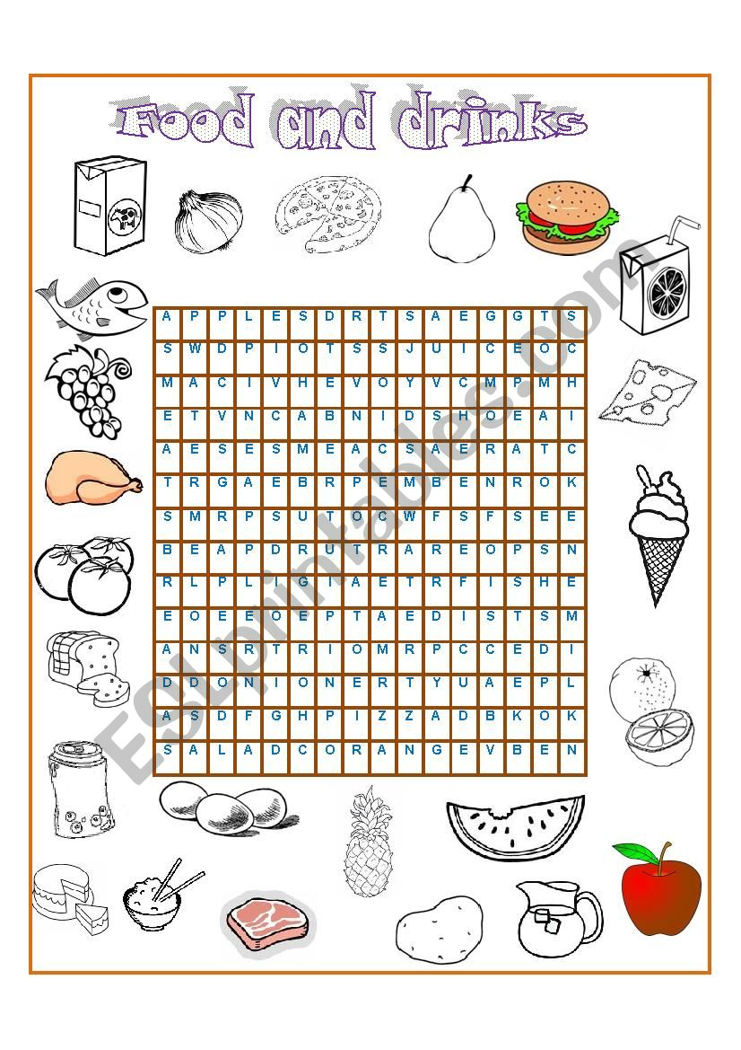 Wordsearch - food and drinks worksheet