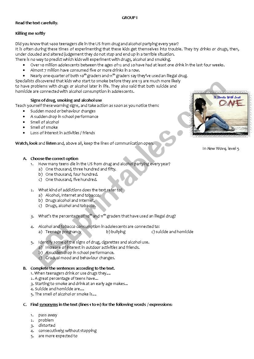 - Reading And Writing Comprehension Test - 9th Grade - ESL Worksheet