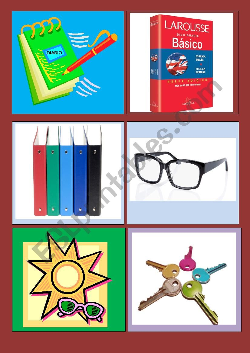 COMMON OBJECTS FLASHCARDS worksheet
