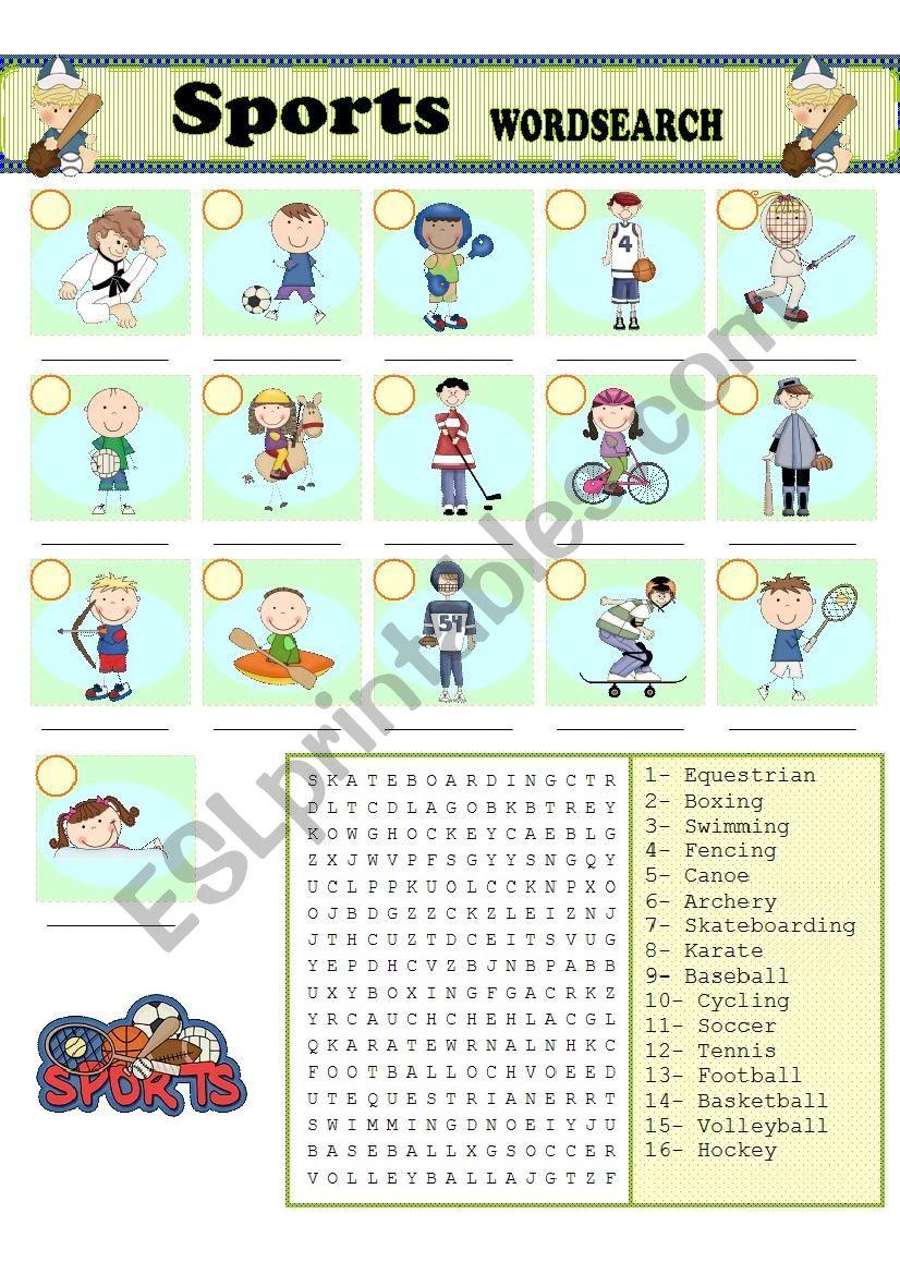 Sports WORDSEARCH worksheet