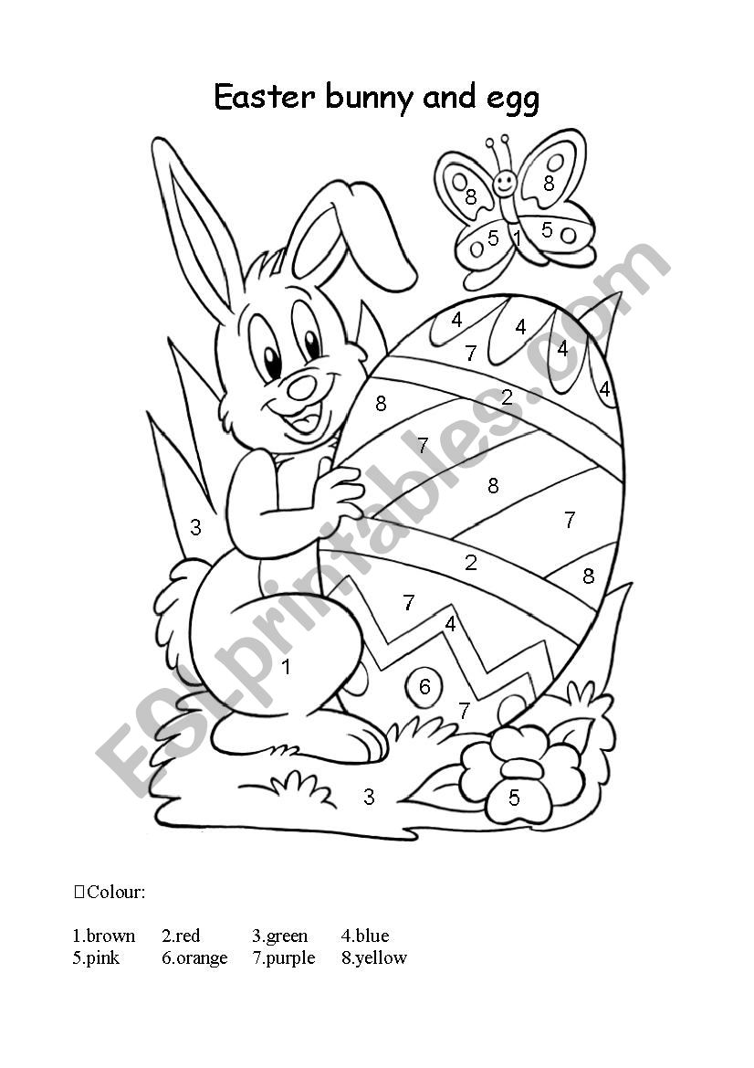 Easter bunny for colouring worksheet