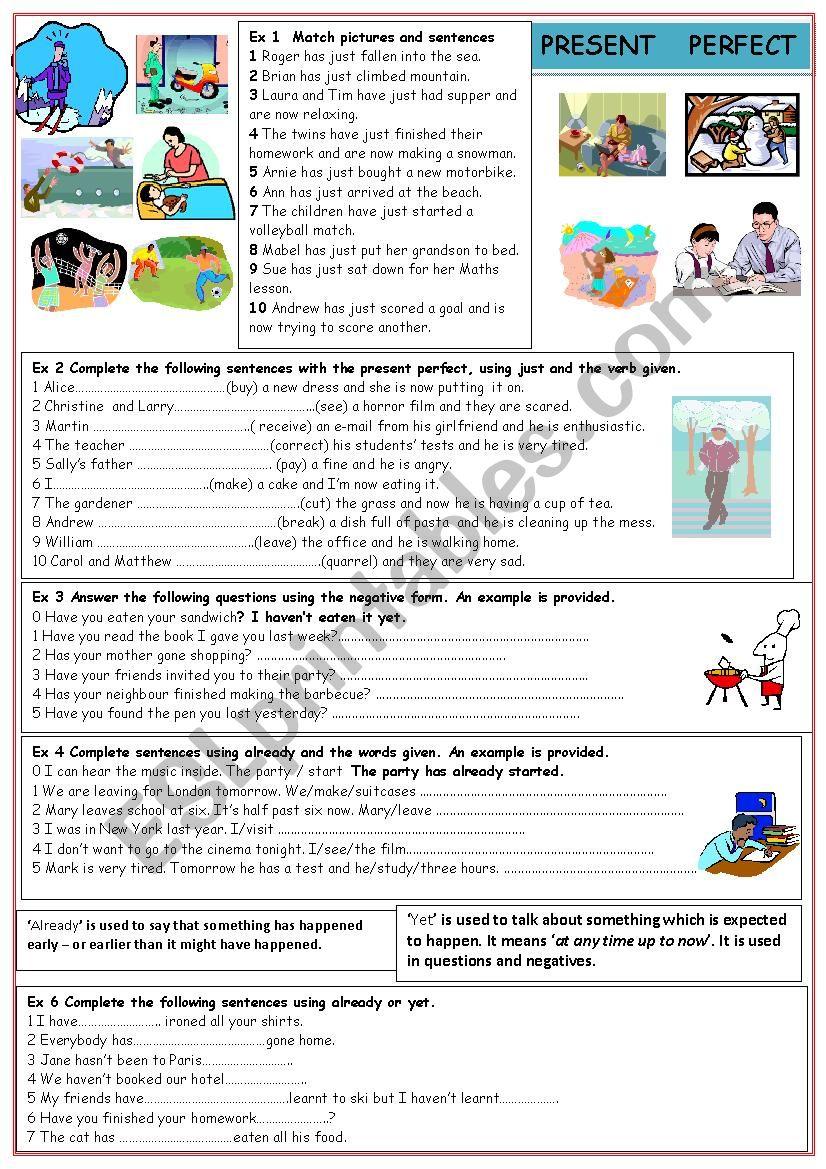 Present perfect worksheet
