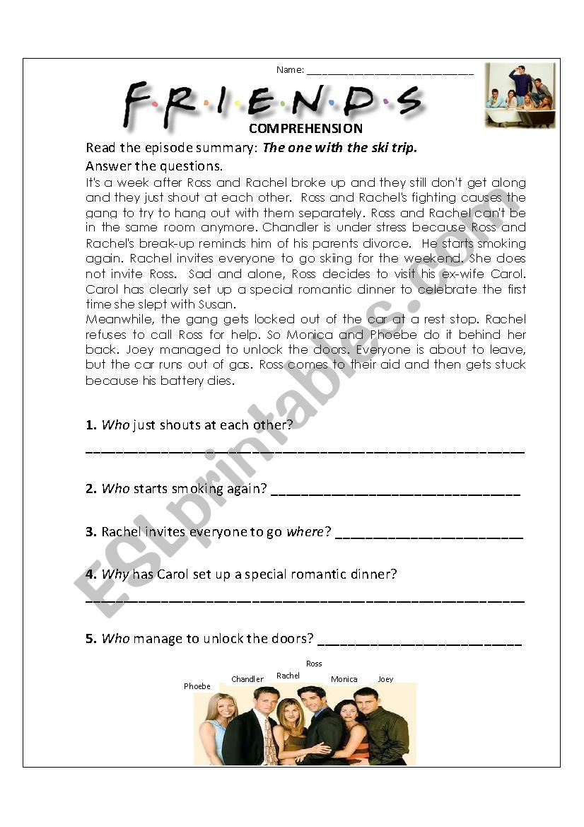 The one with the ski trip worksheet