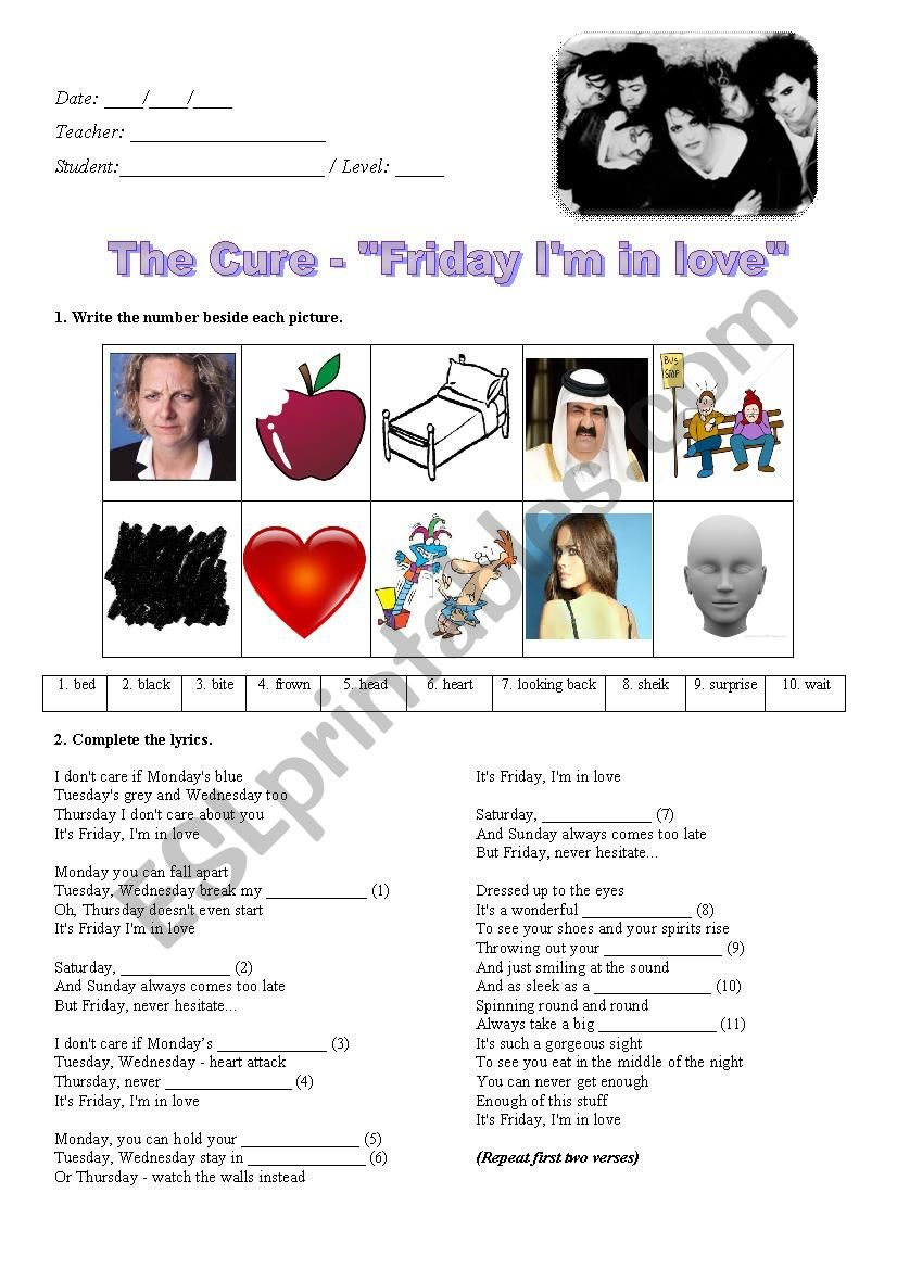 The Cure - Friday I´m in Love worksheet