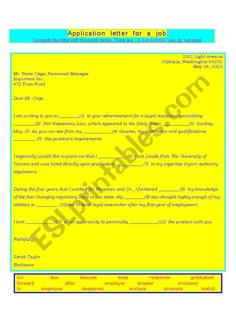 696334_1-Application_letter_for_a_job_gapfilling_exercise_with_key Job Application Letter Exercise Pdf on format writing, for employment samples, it job, for computer servicing, for teacher position, french sample format, for customer service representative, sample for accountant,