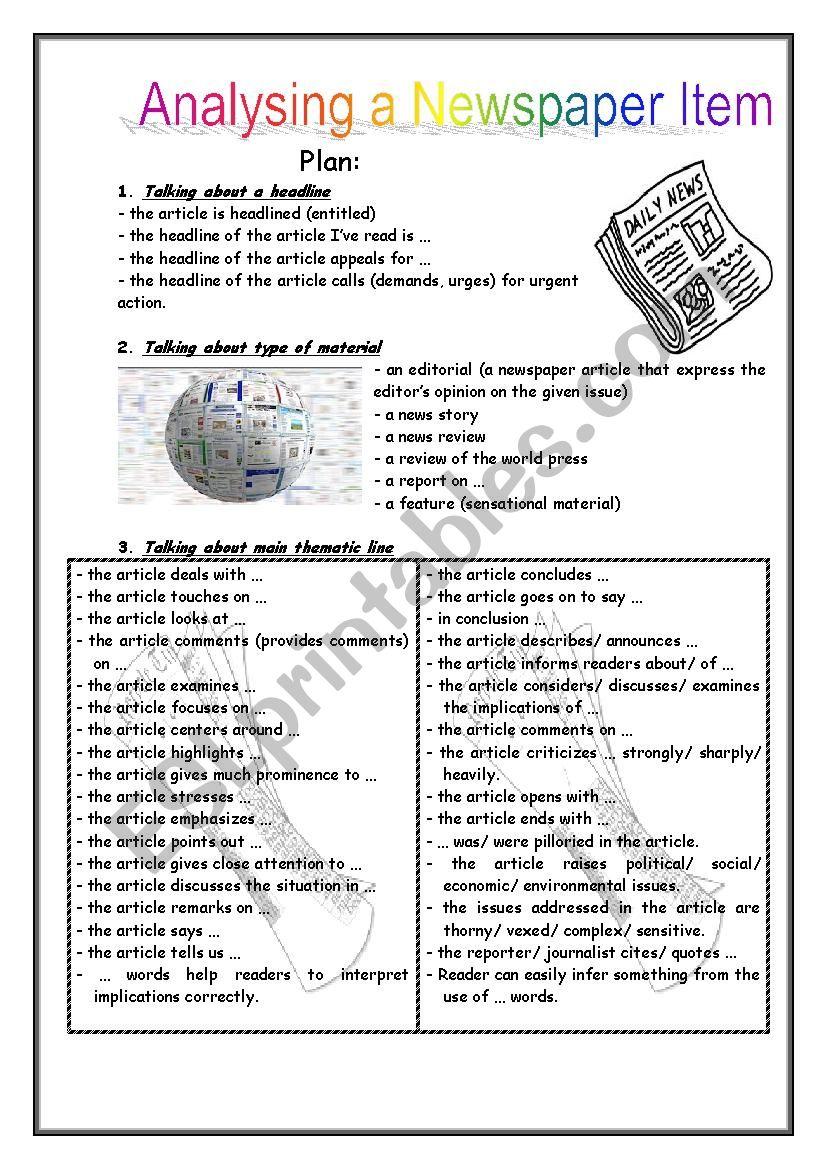 newspaper analysis esl worksheet by jastin25i. Black Bedroom Furniture Sets. Home Design Ideas