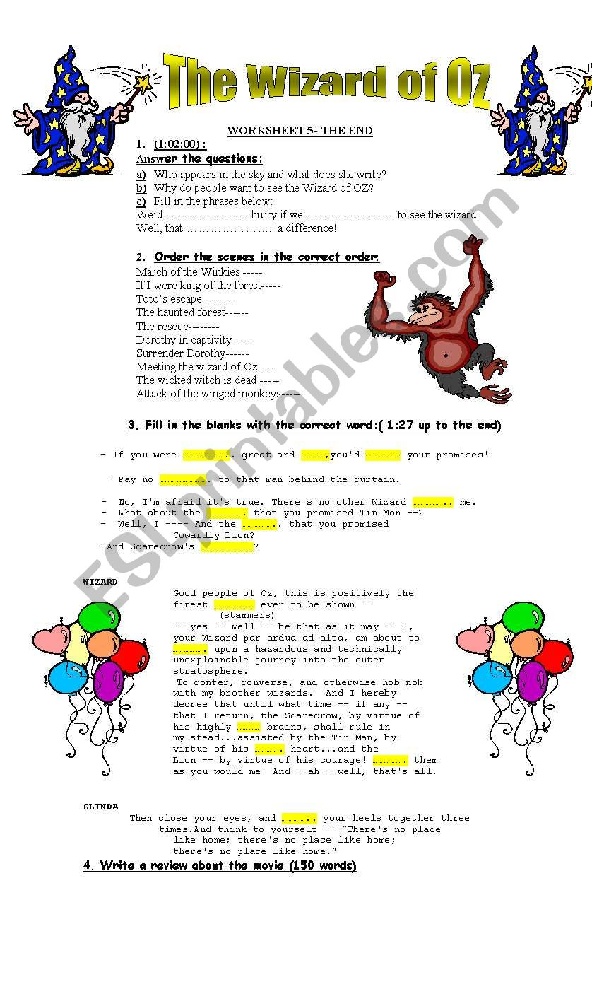 The Wizard of Oz- Video Session- worksheet 5-The end