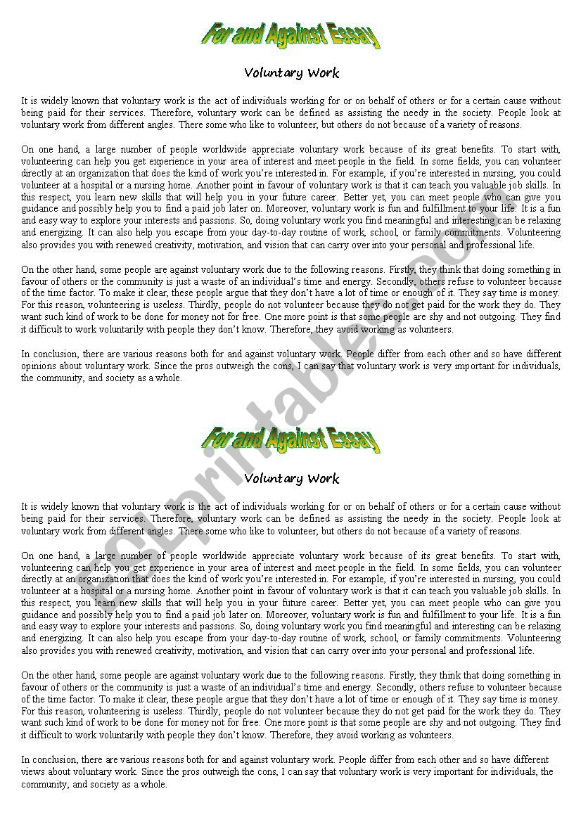 For and Against Essay worksheet