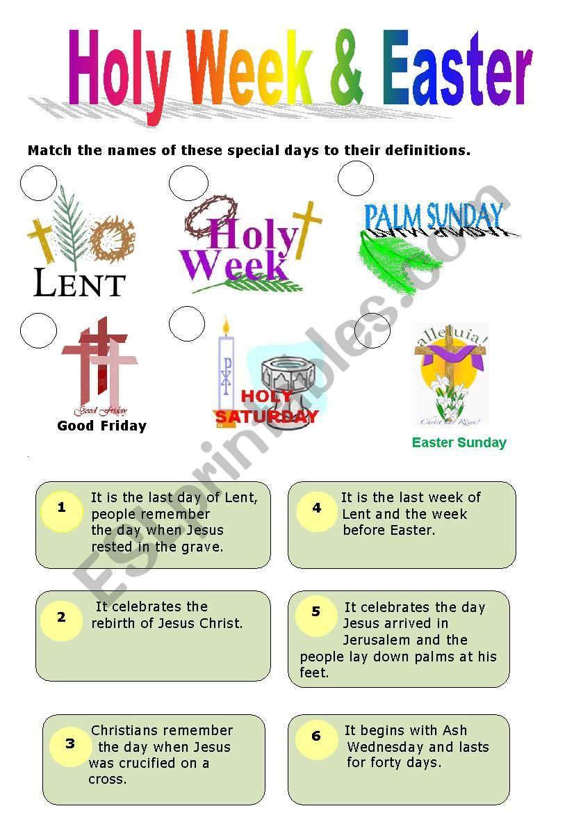 Holy Week & Easter - ESL worksheet by elamal
