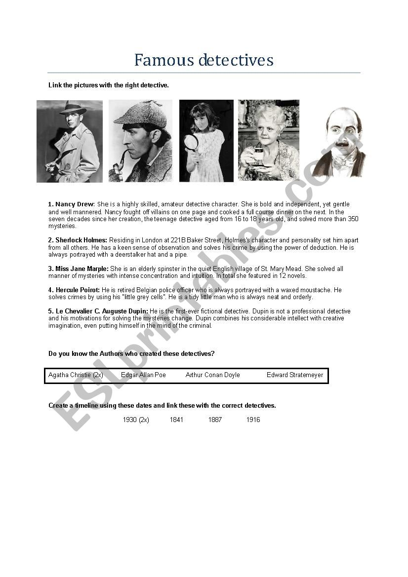 Famous detectives worksheet