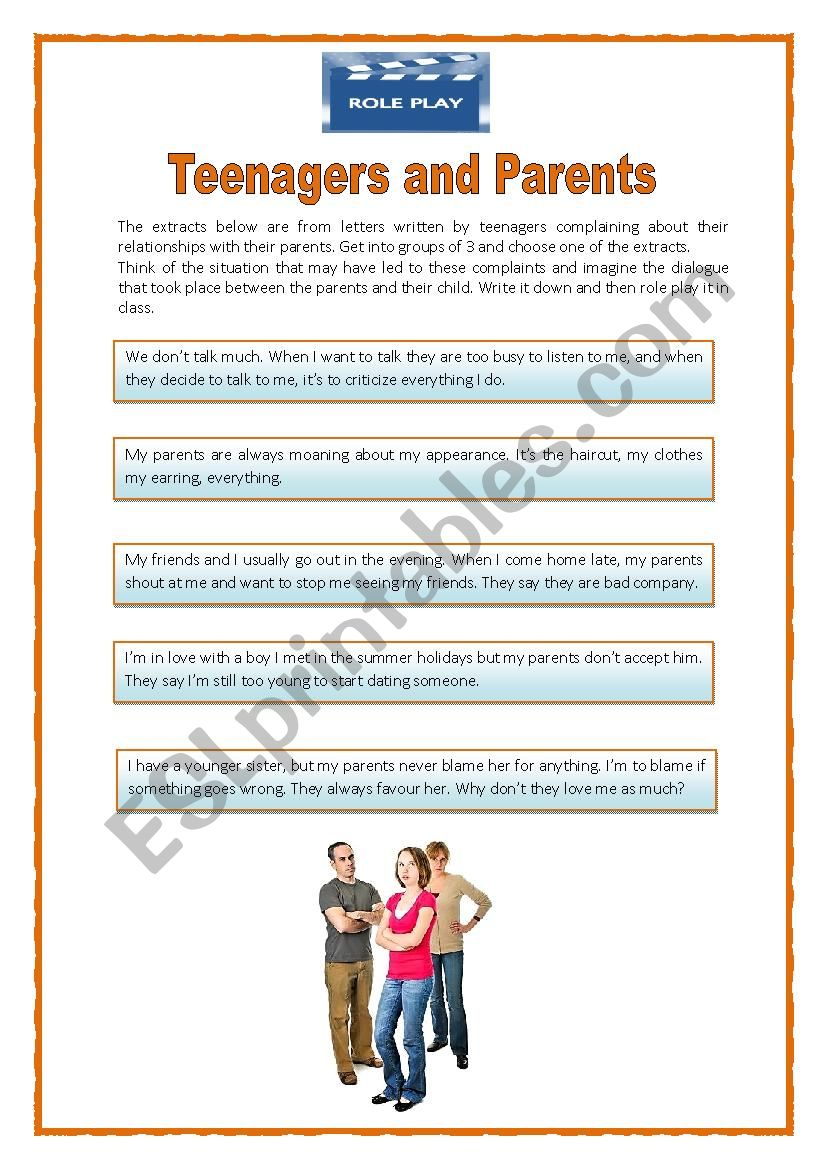 Role playteens and parents esl worksheet by icdias role playteens and parents worksheet ibookread PDF