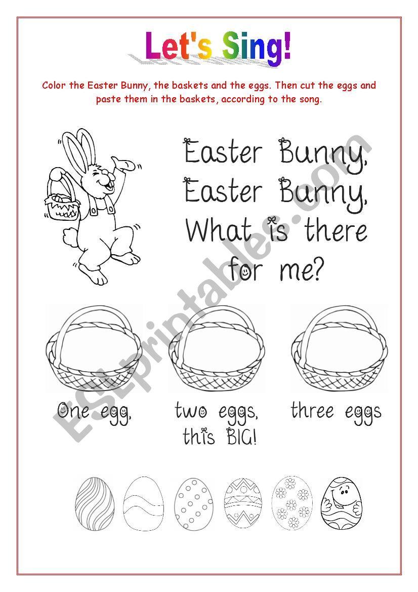 Easter Bunny Song worksheet