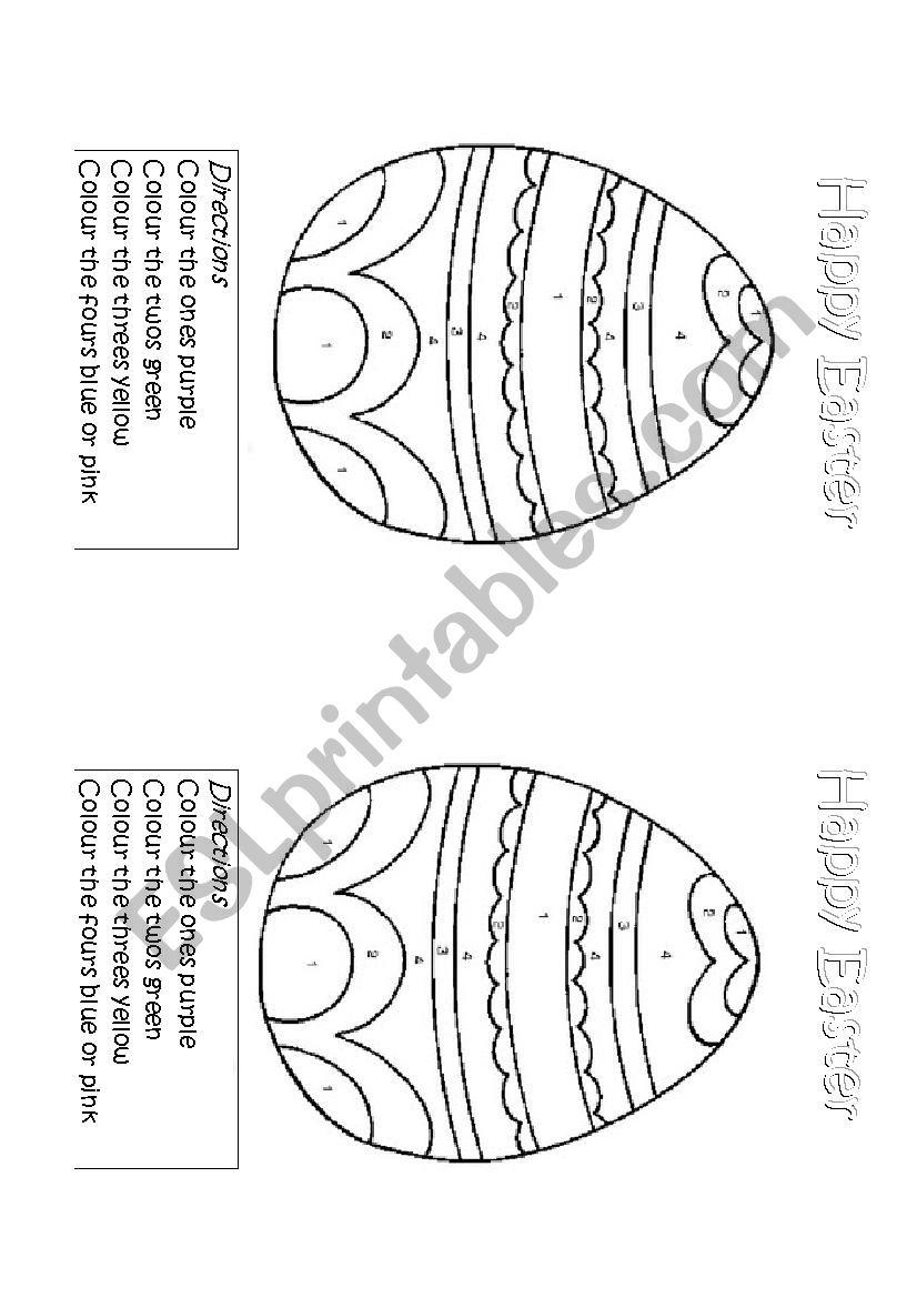 Easter Egg Colouring worksheet