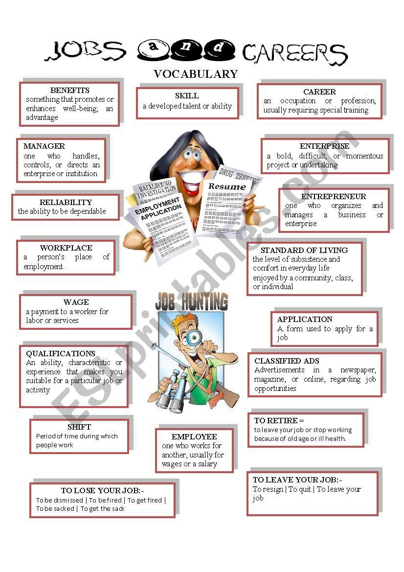JOBS AND CAREERS worksheet