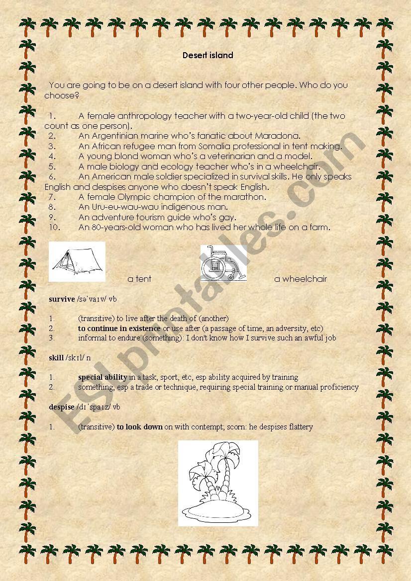 Desert island - oral activity worksheet