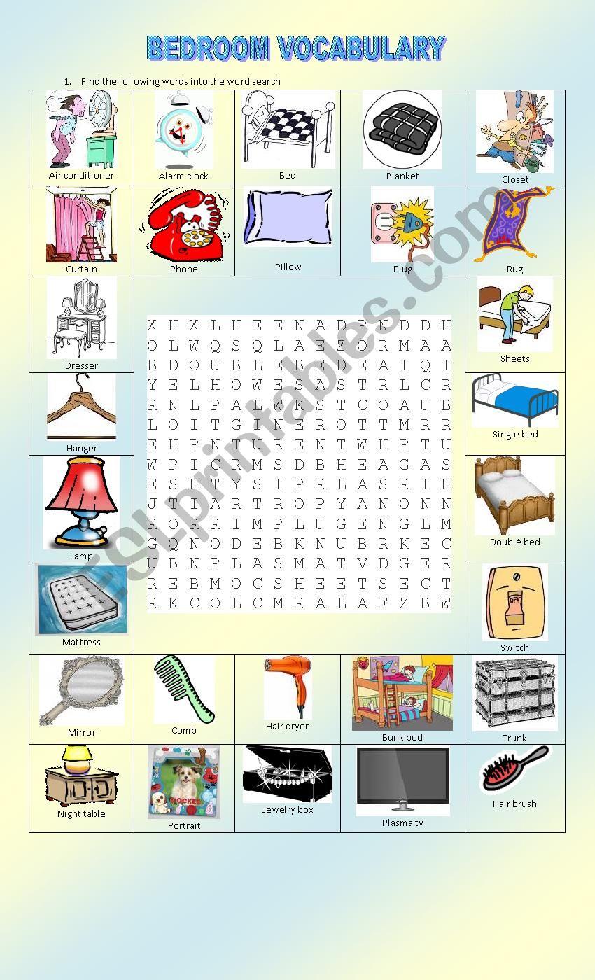 Bedroom Vocabulary Esl Worksheet By Dianac4
