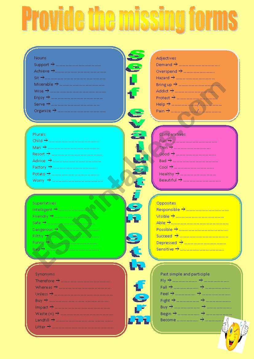 Very useful self evaluation  worksheet