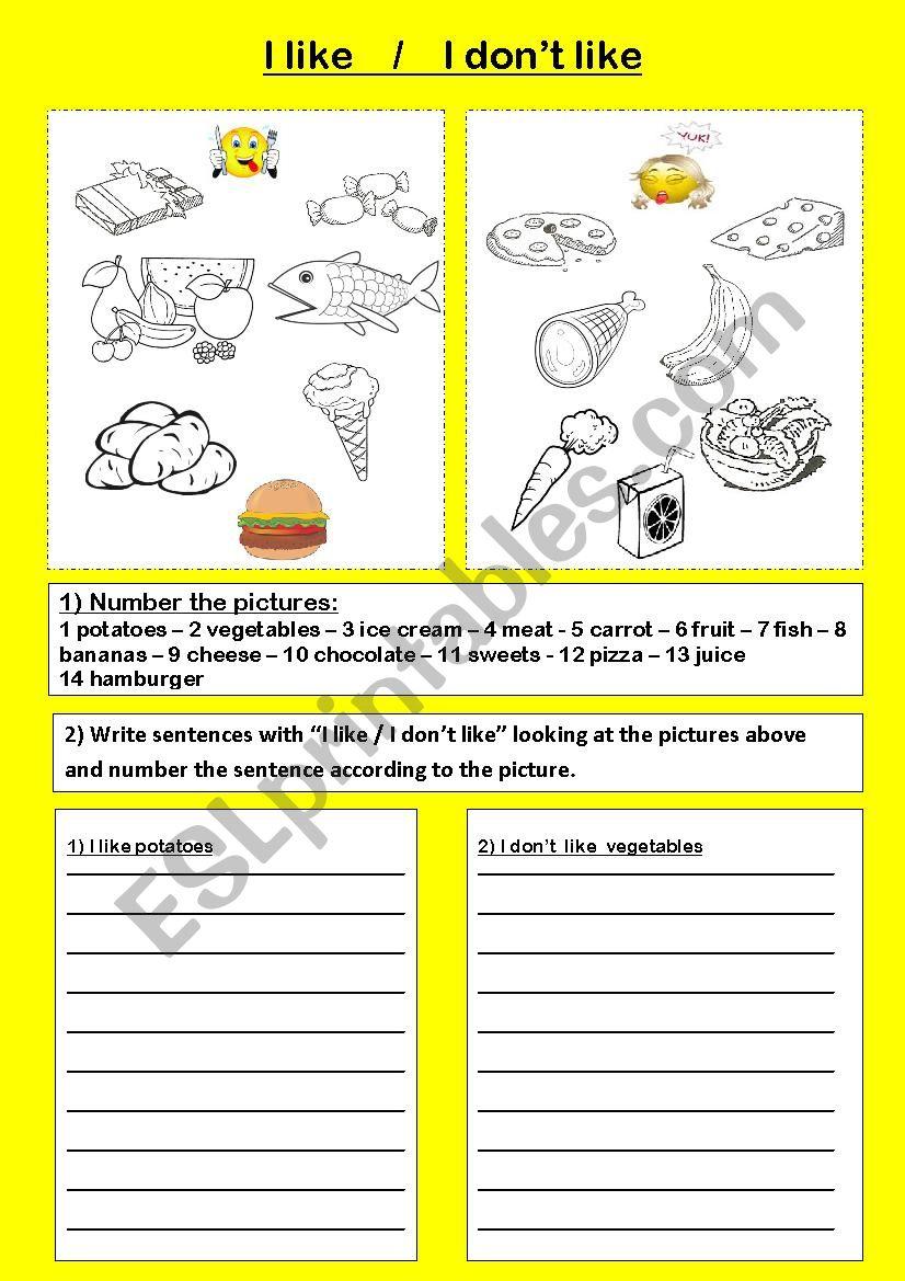 I like- I don´t like and food worksheet