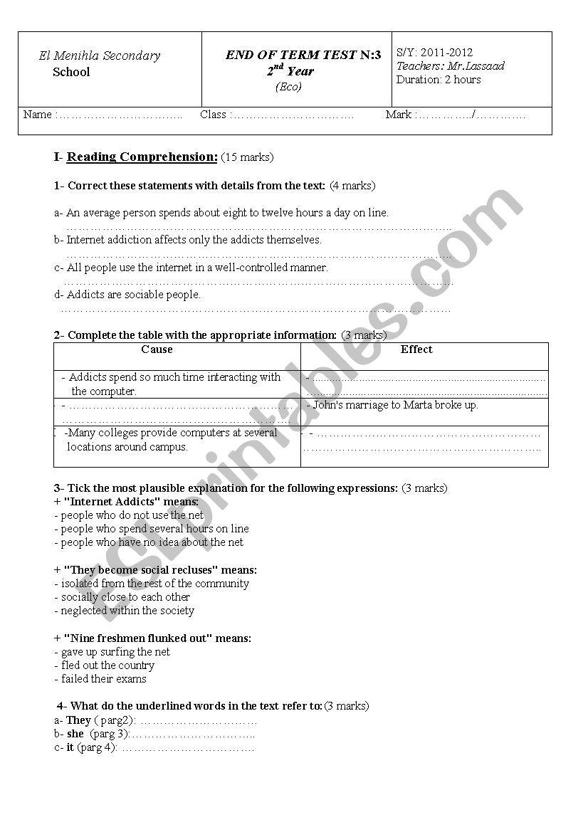 2nd year Eco worksheet